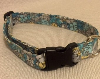Blue and Yellow Floral Dog Collar