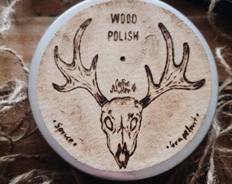 SALE 35 % OFF Handmade Wood Polish Furniture Polish Spruce and Grapefruit, Natural Wood Wax, Handmade Label , 100g / 3,5oz