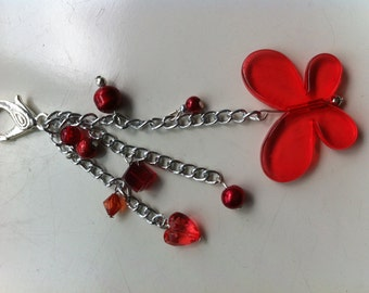 Bag Charm red and white