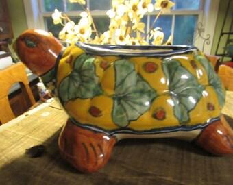 talavera hand painted turtle planter