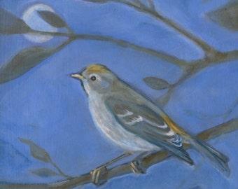 Lucy Warbler, Oil Painting, Bird Art
