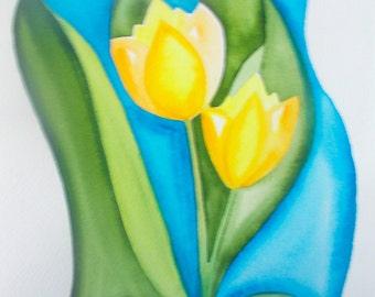 yellow tulips - digital download - JPEG file