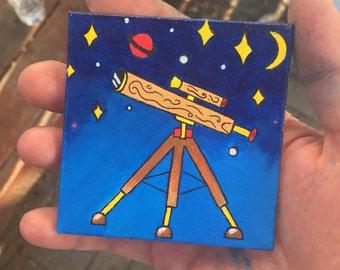 Teeny telescope space painting