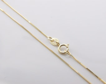 "10k Solid Yellow Gold 0.7mm Box Chain Necklace Pendant 18"" 20"" 22"" Inch 