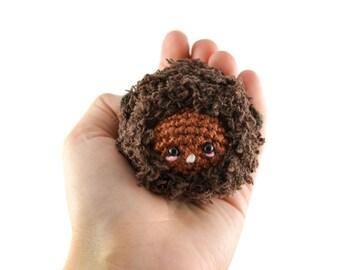 Beaver Fuzzy Amigurumi Purse Charm Keychain