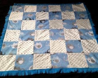 Baby blanket - fleece, minky and flannel