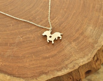 Sale 25% off -- Sterling Silver Dachshund dog necklace