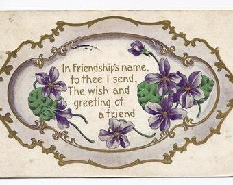Old Vintage Postcard, Purple, Flowers, Poem, Poetry, 1c US Stamp