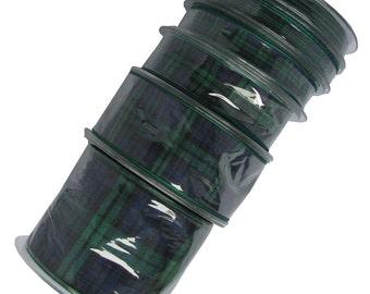 25m REELS Black Watch Tartan Ribbon - 70mm, 40mm, 25mm, 16mm, 10mm & 7mm widths. .(Cut lengths also available - pls see CUT LENGTHS listing)