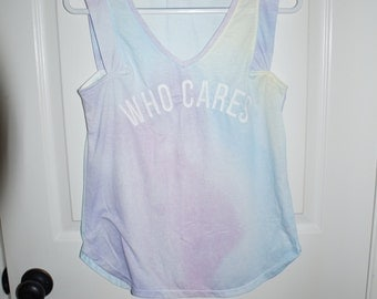 Who Cares pastel colored tank top