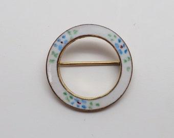 Sweet Vintage Enamel Circle Pin / Brooch