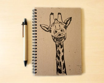Giraffe Kraft Notebook/Sketchbook Spiral Bound - Blank pages