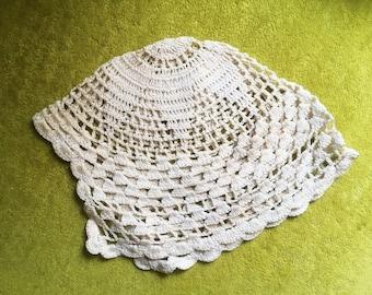 Crochet Baby Hat - Cream Antique Bonnet - Vintage Baby