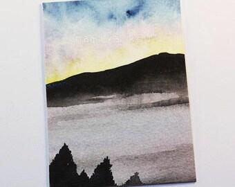 Original ACEO Card, Simple Watercolor Art, Misty Mountain Scenery, Yellowstone Painting, Pale Sunrise, OOAK ATC, Hand Drawn Aceo, Kakaokarte