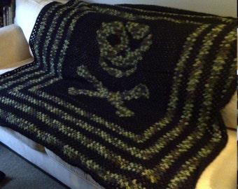 Skull and Crossbones Blanket; Camo and Black Blanket; Skull Pattern; Crochet Pattern; Blanket Pattern; Skull Bedding; Skull Gifts