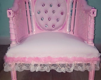 cute pink accent chair Lolita kawaii style ornate with pearls and crystals lace and pink feathers trim shabby chic cottage style