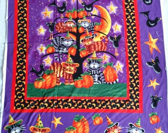 Halloween Tree with Cats Panel