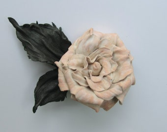 Leather flower brooch, Creamy rose leather brooch, Rose leather brooch, Nice gift idea, Gift for her, Leather brooch