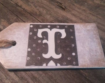 Wooden tag with initial