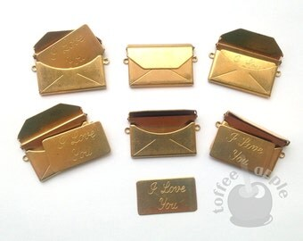 FREE P&P Large 32mm Raw Brass Envelope Love Letter Pendant Charm with 'I Love You' Card Insert