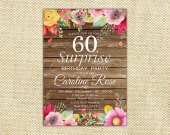60th Birthday Invitation. Surprise Birthday Party Invitation. Wooden Birthday Invitation. Autumn Flowers Invitation. 30th, 40th,50th, 70th.