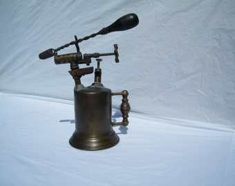 Antique Blow Torch and Soldering Iron - Torch Made By Turner - Brass Works Unique