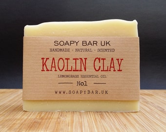 Kaolin Clay Natural Handmade Soap scented with Lemongrass Essential Oil