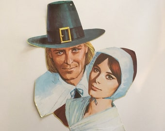 Vintage Thanksgiving Pilgrim Paper Die Cut {Eureka Brand} Man and Woman Pilgrim Couple {Vintage Wall Decor with Character}