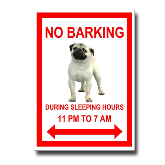 Pug No Barking Fridge Magnet No 1 Fawn