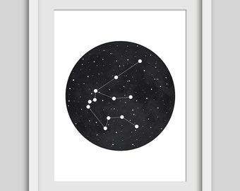 Constellation Print, Zodiac Art, Night Sky, Aquarius, Sky Artwork, Printable Art, Stars, Constellations Art, Black and White