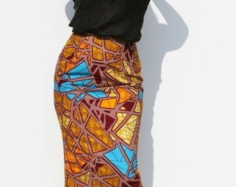 Tube skirt, coloured, cotton, back slit, by day, size 40 42