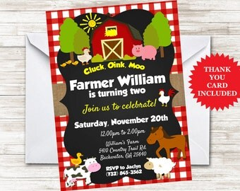 Farmer Invite Invitation Birthday Party Barnyard 5x7 Digital Personalized Farm