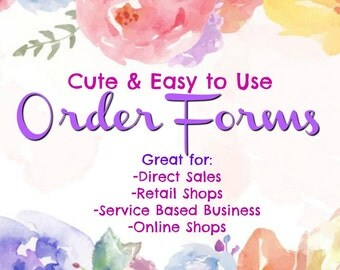 Order Forms- Cute & Easy to Use! GREAT for Direct Sales, Retail and Service Based Businesses!