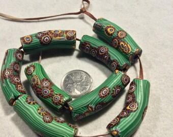 8 Green Stripe Antique Venetian Millefiori African Trade Beads