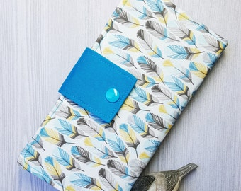 Womens wallet with blue feathers, womans clutch wallet, credit card wallet, handmade bifold wallet, checkbook wallet, slim fabric wallet