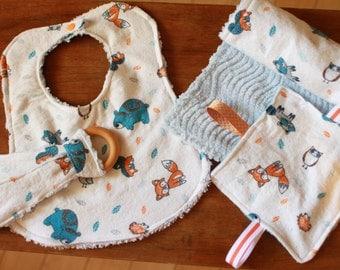 Baby Boy Woodland Animals Burp Cloth Bib Gift Set