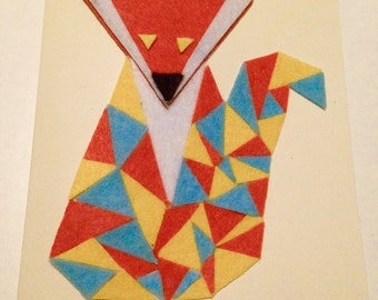 Geometric greeting card thank you fox triangles