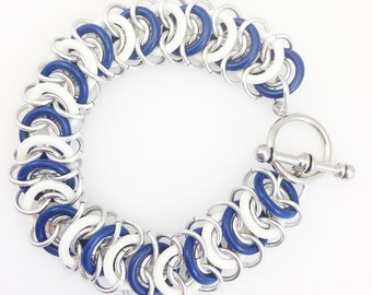 Aluminum & Rubber Vertebrae Weave Chainmaille Anklet - Blue and White