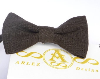 Dark Brown Linen bow tie for wedding, for groomsmen, boy's, toddler's, baby's, men's dark brown linen bow tie