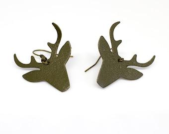 """Earrings leather deer head """"bichettes"""" done khaki hand"""