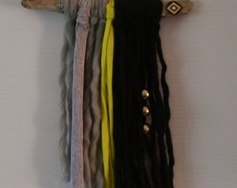 Boho wall hanging - black and lime