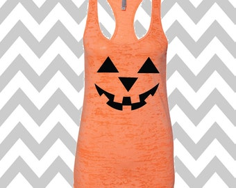 Burnout Tank Pumpkin Face Jack-O-Lantern Halloween Racerback Tank Top Scary Pumpkin Face Tank Top  Halloween Tank Top Pumpkin Face Tank