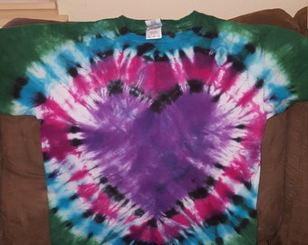 Youth Large Heart Tie-dye T-shirt