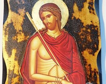 Jesus Christ Bridegroom Greek Orthodox Russian Mount Athos Byzantine Christian Catholic Icon on Wood Golden leaf
