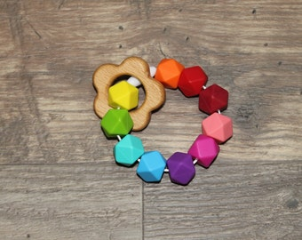 Silicone + Wood Teething Toy | Flower | Modern | Perfect Gift | Handmade in Canada | Unique | Teething | Baby | Kenton Creations | Textured
