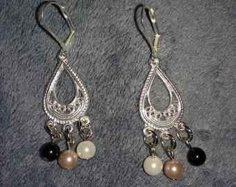 Pearl Teardrop Silvertone Earrings