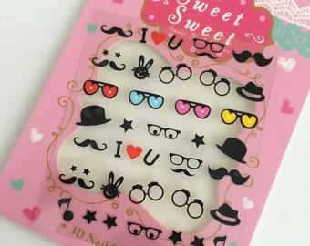Nail sticker,Decals,Glasses,hat,love