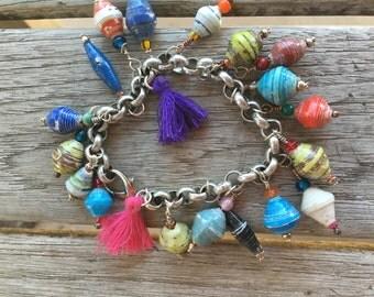 Paper Bead Chain Link Bracelet