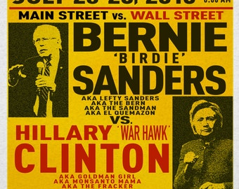 "Bernie Sanders vs. Hillary Clinton - Democratic Convention - 13"" x 19"" Poster"
