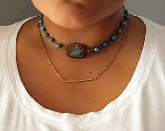 Raw Turquoise stone choker beads choker choker turquoise necklace boho necklace bohemian necklace stacking necklace